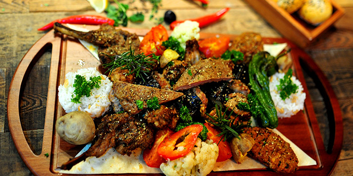 Food of Pera Turkish Restaurant & Bar located on Julu Lu, Huangpu District, Shanghai, China