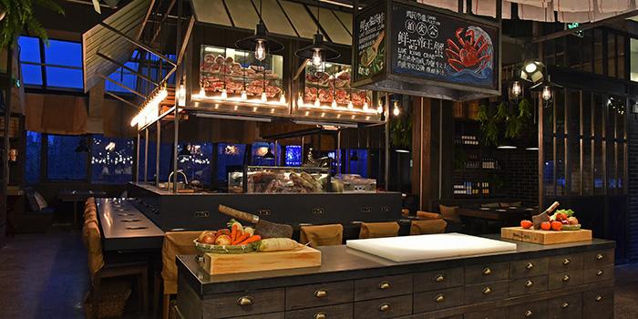 Counter of Qimin Organic Hotpot Marketplace (Hengshan Lu) located in Xuhui, Shanghai