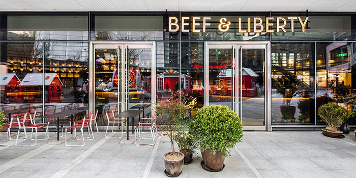 Outdoors of Beef & Liberty (Kerry Parkside) located in Pudong, Shanghai