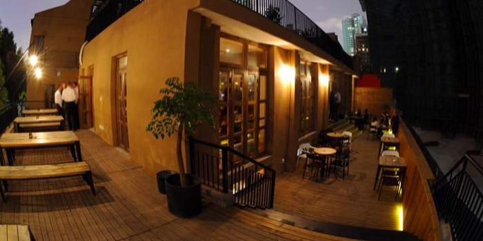 Terrace of Café Sambal located in Xuhui, Shanghai