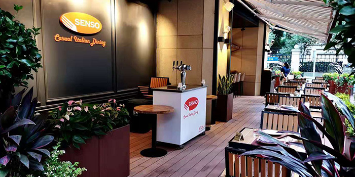 Outside of of Senso Casual Italian Dining located in Changning, Shanghai