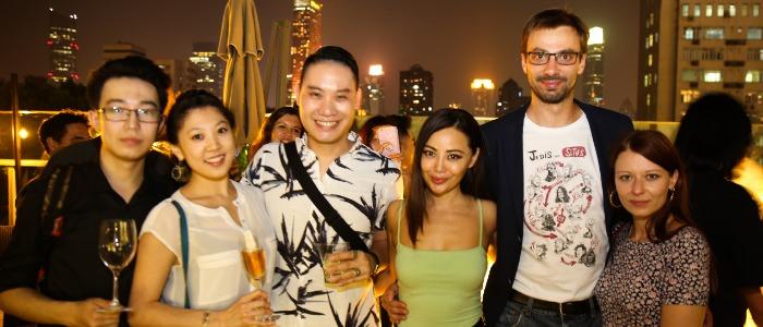 Guests on Terrace of Hatsune (IAPM) located on Huaihai Zhong Lu, Xuhui, Shanghai